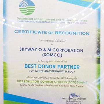 SOMCO Awarded - Best Donor Partner 2017 By DENR